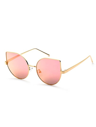 Metal Frame Pink Cat Eye Sunglasses