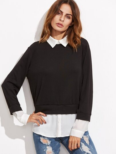 Contrast Pointed Collar 2 In 1 Sweatshirt