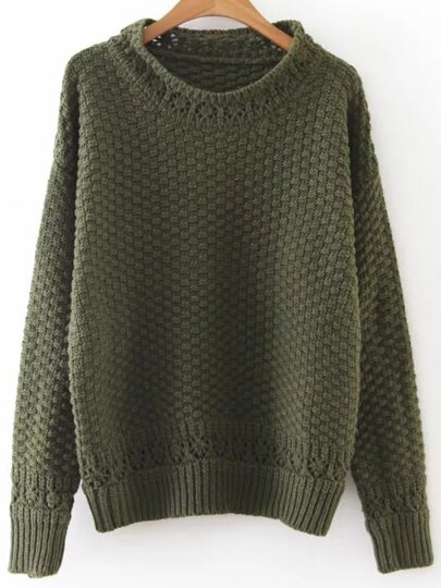 Army Green Hollow Out Crew Neck Sweater