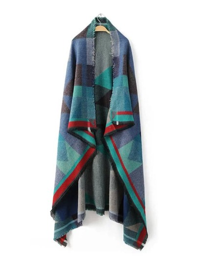 Multicolor Patchwork Eyelash Fringe Shawl Scarf