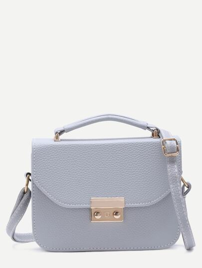 Grey Pebbled PU Box Handbag With Strap