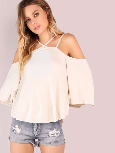 Double Strap Cold Shoulder Flow Knit Top SHELL