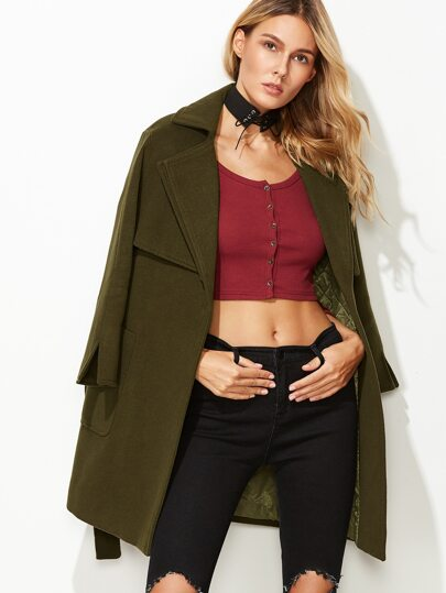 Olive Green Slit Cuff Pocket Front Belted Coat With Gun Flap