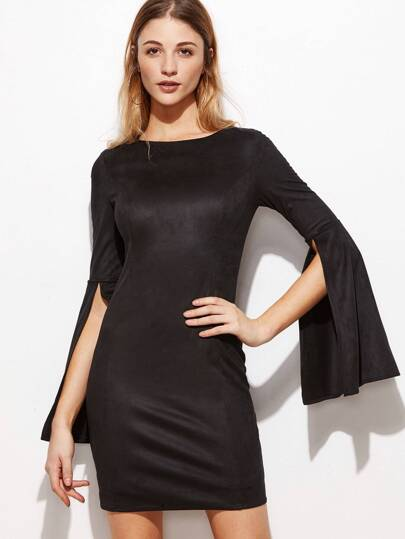 Black Faux Suede Split Sleeve Bodycon Dress