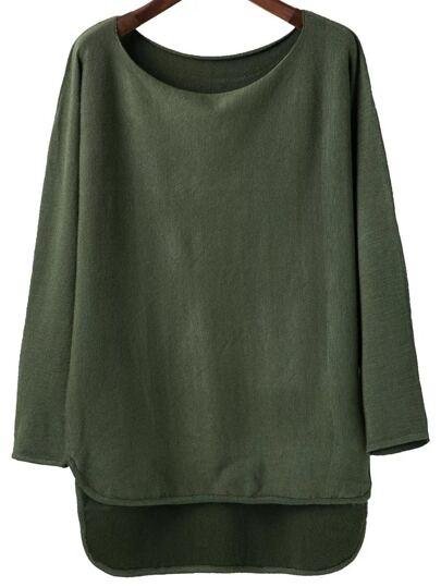 Army Green Scoop Neck Dip Hem Knitwear