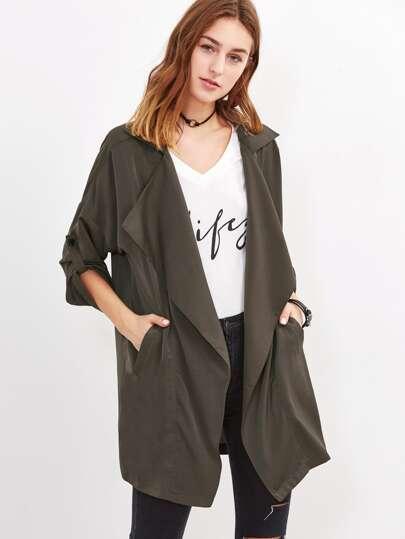 Oversized Collar Roll Tab Sleeve Duster Coat