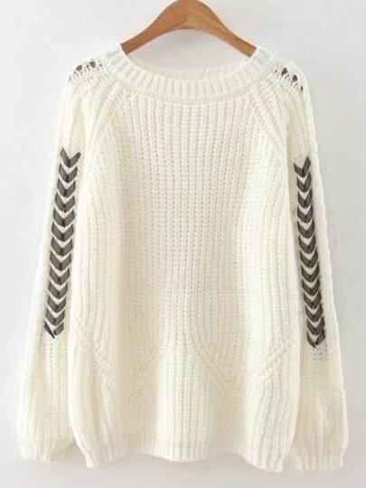 White Lace Up Raglan Sleeve Sweater