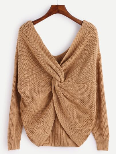 Khaki V Neck Knot Sweater