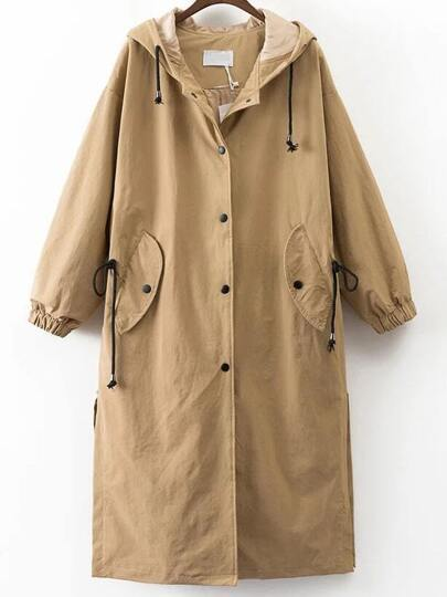 Khaki Letter Embroidery Drawstring Hooded Coat