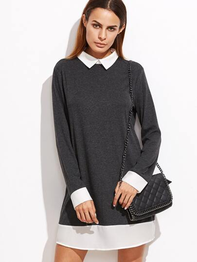 Heather Grey Contrast Collar And Trim Dress
