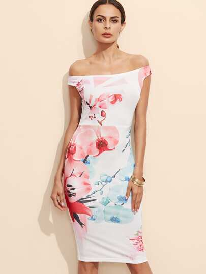 White Flower Print Off The Shoulder Pencil Dress