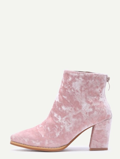 Diamond Velvet Pink Point Toe Chunky Heel Booties