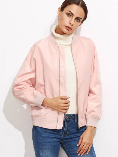 Contrast Ribbed Trim Drop Shoulder Jacket
