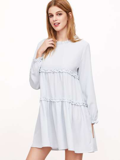 Blue Frilled Detail Lantern Sleeve Tiered Swing Dress