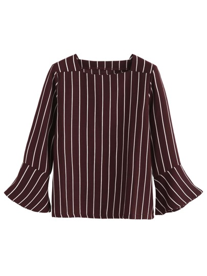 Burgundy Vertical Striped Bell Sleeve Blouse