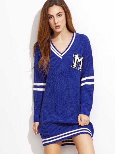 Blue Varsity Striped Trim Sweater Dress With Patch
