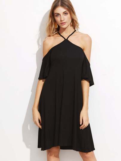 Black Crisscross Halter Cold Shoulder A Line Dress