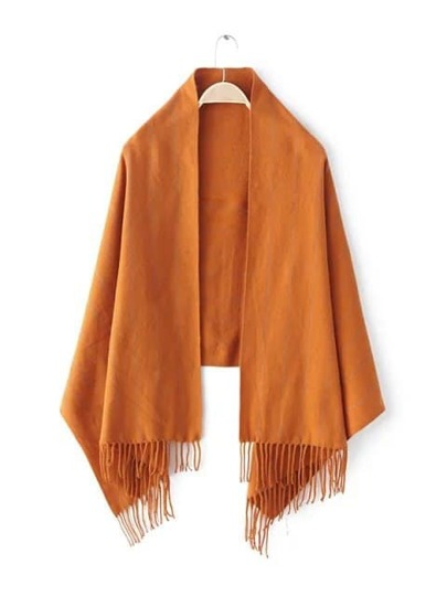Оранжевый полосатый шарф-накидка с бахромой