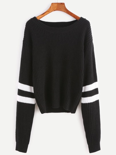 Black Ribbed Knit Striped Sleeve Sweater