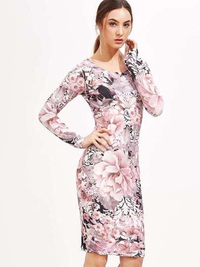 Floral Print Pencil Dress