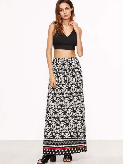 Black White Floral Print Drawstring Waist Skirt