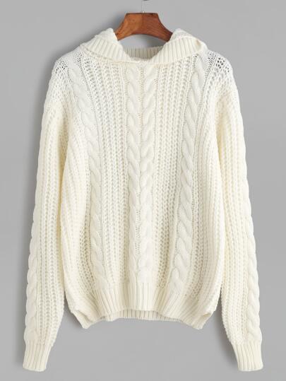Beige Cable Knit Split Side Hooded Sweater