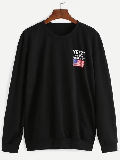 Sweat-shirt manche longue imprimé drapeau américain - noir