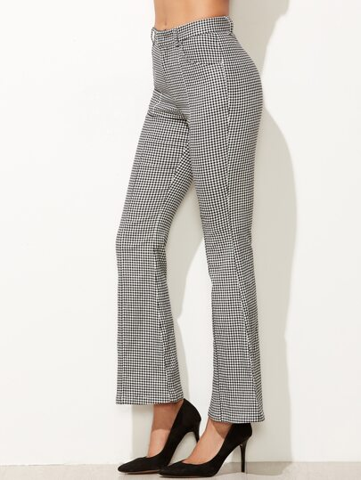 Black And White Gingham Flared Pants