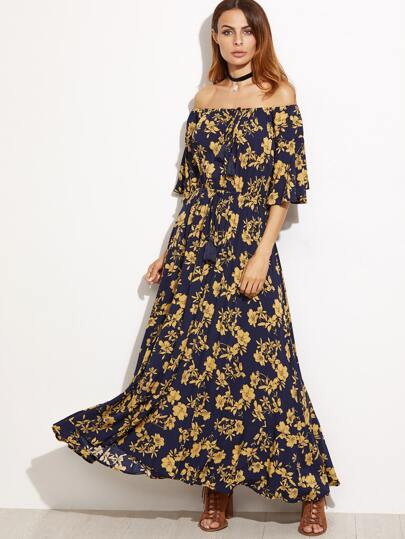 Navy Printed Off The Shoulder Fringe Detail Dress