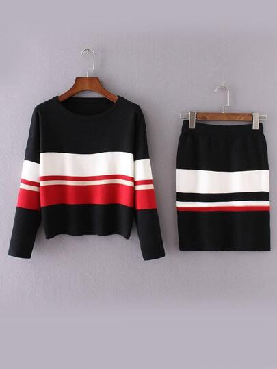 Black Color Block Drop Shoulder Sweater With Skirt