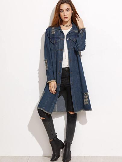 Blue Ripped Raw Hem Denim Long Coat