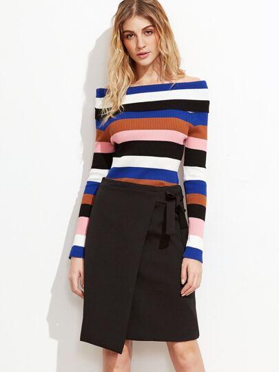 Multi Stripe Off The Shoulder Foldover Sweater
