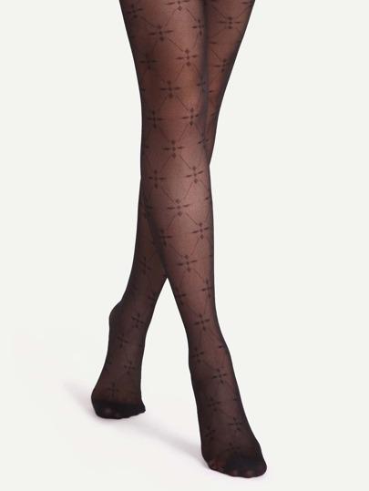 جوارب طويلة شفافة جاكار سوداء