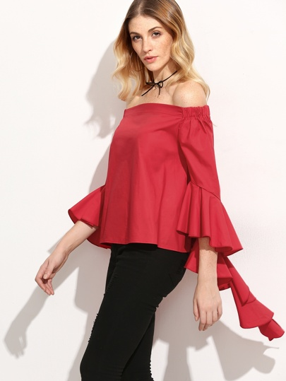 Red Dramatic Ruffle Sleeve Off The Shoulder Top