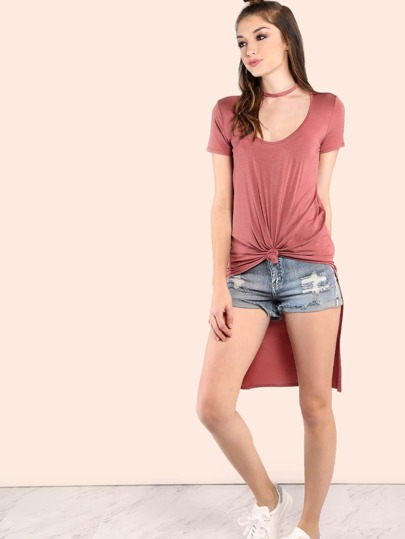Knotted High Low Choker Neck Tee MARSALA