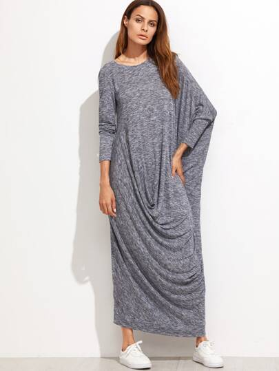 Navy Marled Knit Draped Asymmetric Oversized Dress