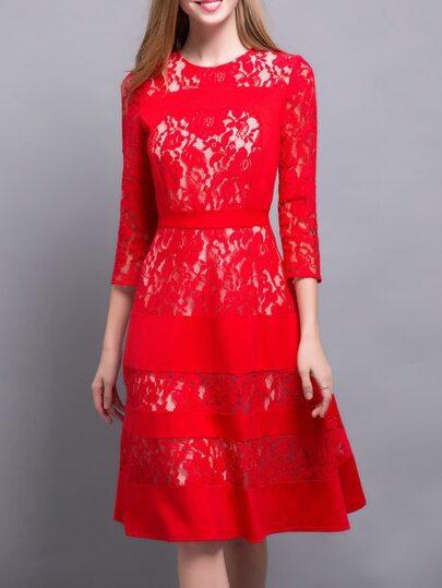Vestido línea A de encaje - rojo