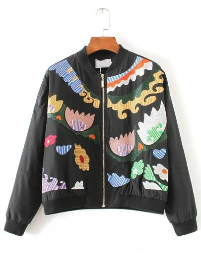 Black Graphic Embroidery Bomber Jacket