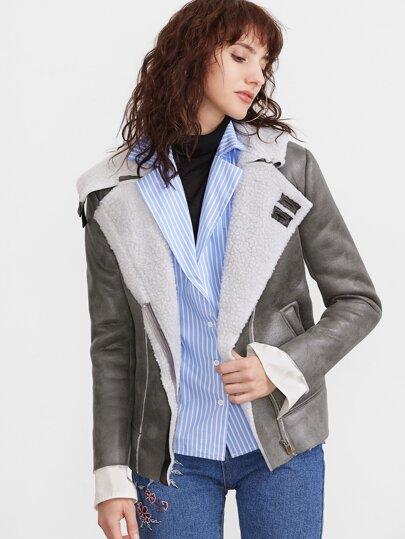Grey Faux Shearling Asymmetric Zip Jacket