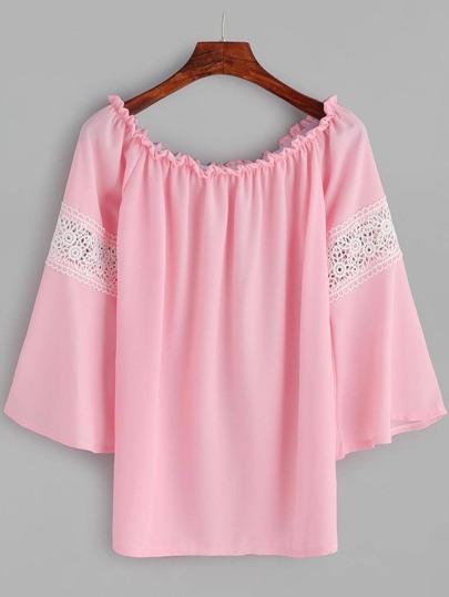 Pink Boat Neck Contrast Crochet Top