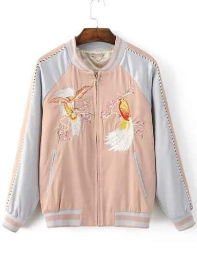 Pink Bird Embroidery Raglan Sleeve Zipper Jacket