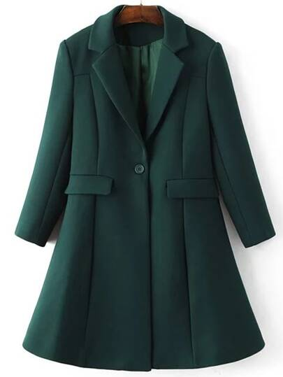 Dark Green Lapel Single Button Longline Coat