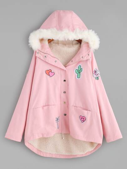 Patch Faux Shearling Hooded Coat With Faux Fur Trim