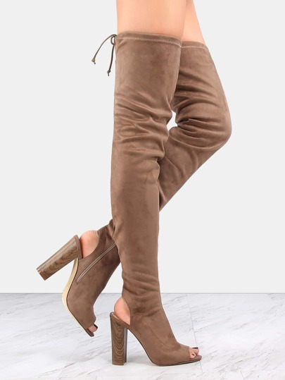 Tie Back Faux Wooden Heel Boots TAUPE