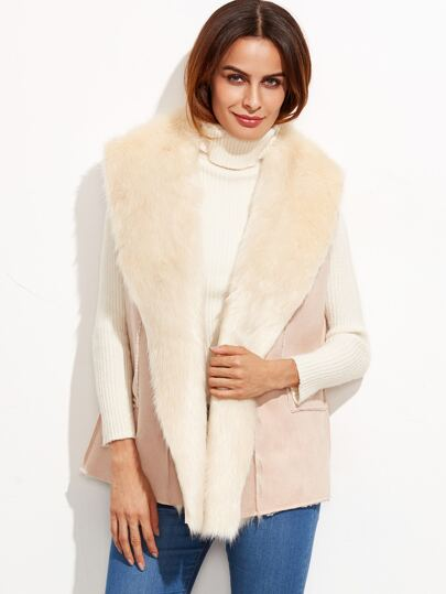 Pink Oversized Shawl Collar Faux Shearling Vest