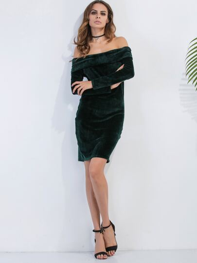 Dark Green Off The Shoulder Foldover Velvet Dress