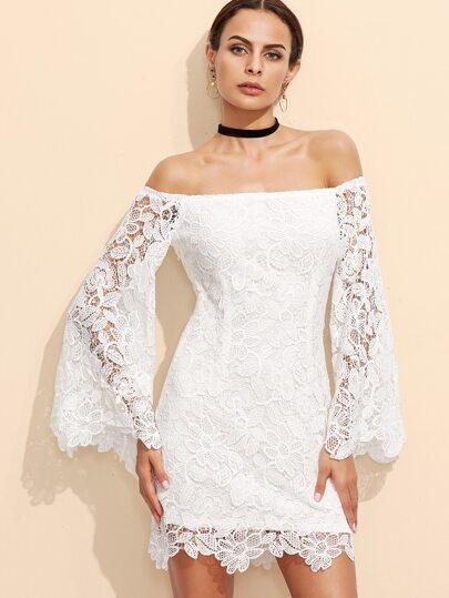 Vestito Spalle Scoperte Overlay Ricamato Pizzo - Bianco