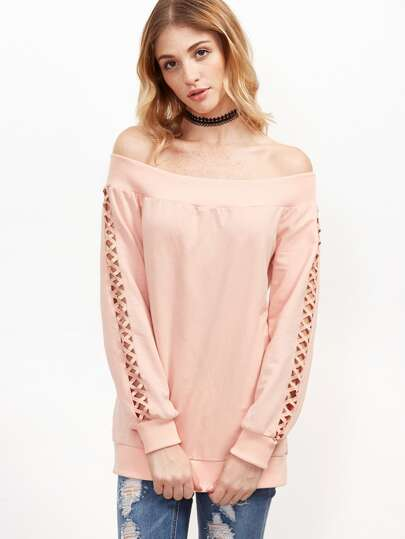 Pink Off The Shoulder Cutout Crisscross Sleeve Sweatshirt