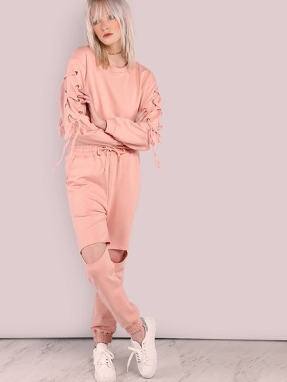 Waist Tie Cut Out Knee Sweatpants PINK