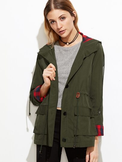 Olive Green Plaid Lining Drawstring Waist Hooded Utility Jacket